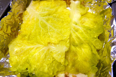 Place 3 of the large blanched cabbage leaves on bottom to start the layers for the Cabbage Casserole with Leeks, Ricotta, and Pine Nuts