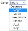 Desplegable con elementos y grupos traducido al español