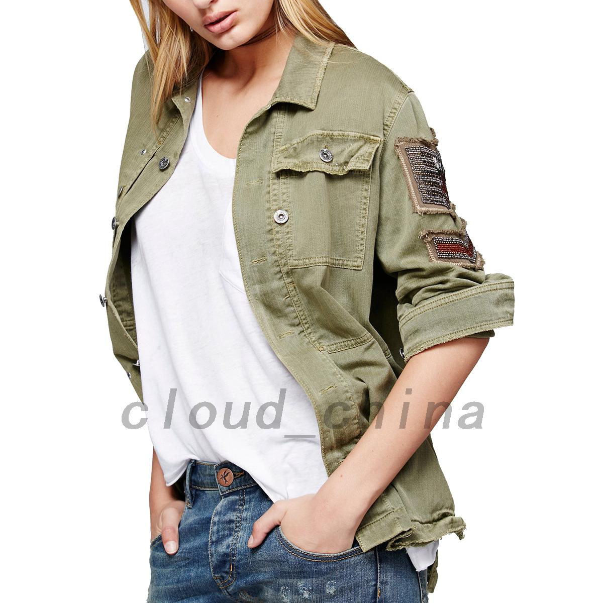 Point-Collar-Denim-Embellished-Military-Shirt-Jacket-Outwear-Coat-Sweats-Jumper