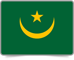 Mauritanian framed flag icons with box shadow