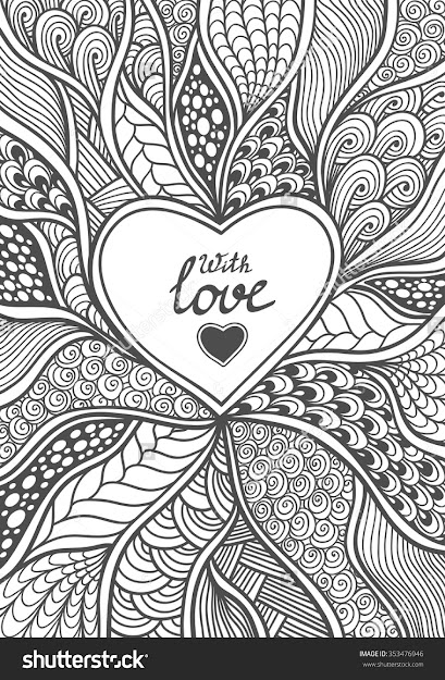 Handmade Abstract Heart Frame In Zendoodle Style Black On White Coloring  Page For Coloring