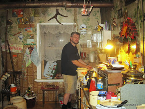 Photo: Alex washing dishes in the Moscow University field station kitchen