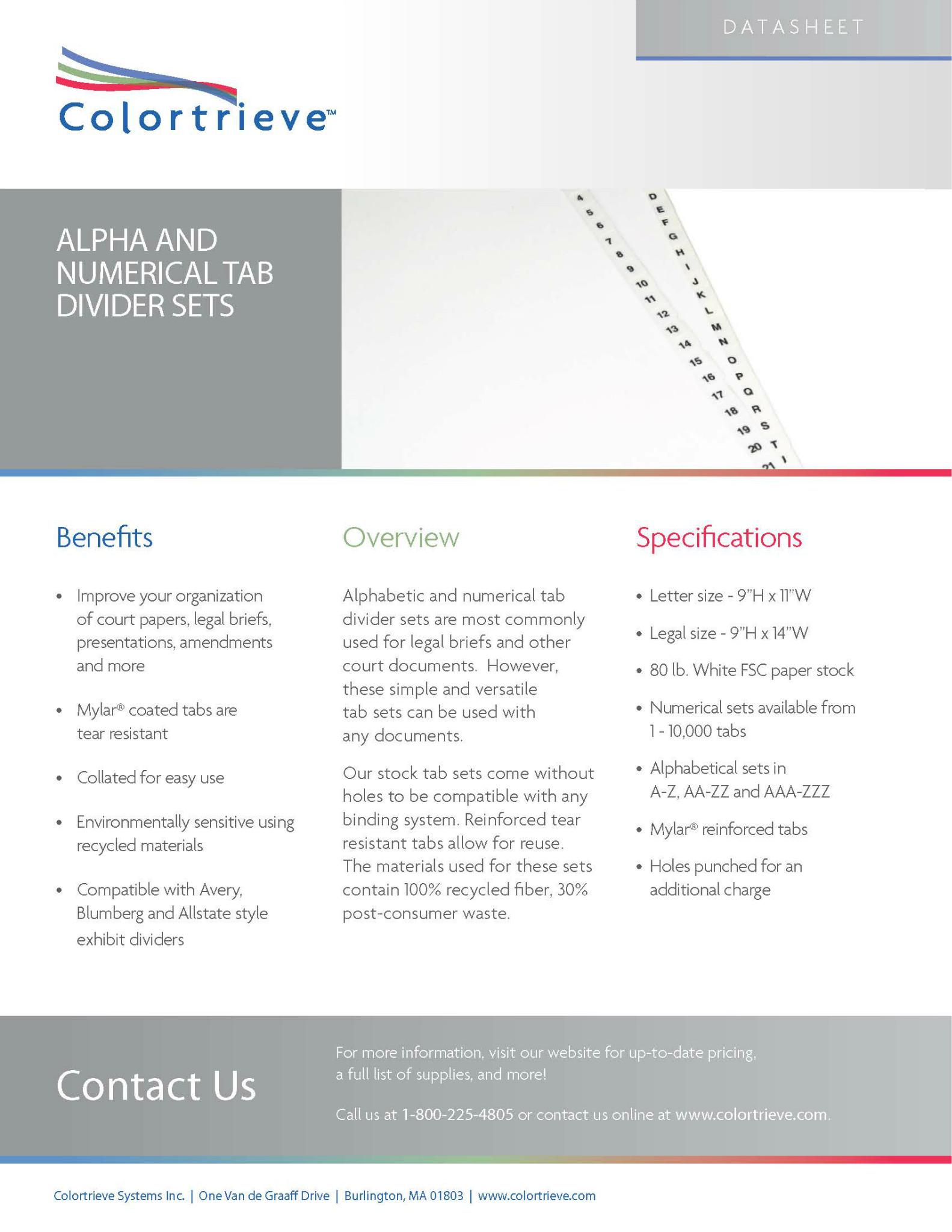 Photo: Alpha/Numerical Tab Divider Sets