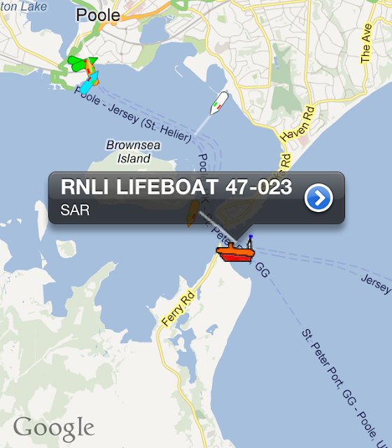 8 April 2012: Poole's all-weather Tyne class lifeboat (47-023) showing on AIS (automatic identification system) as it was towing a yacht back into Poole Harbour. Image: RNLI Poole/Dave Riley