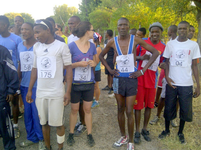 The winner before the start of the Okavango Half Marathon