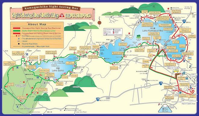 Kawaguchiko Sightseeing Bus Map - Klik untuk Perbesar