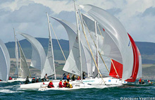 J/80s sailing under spinnaker off France