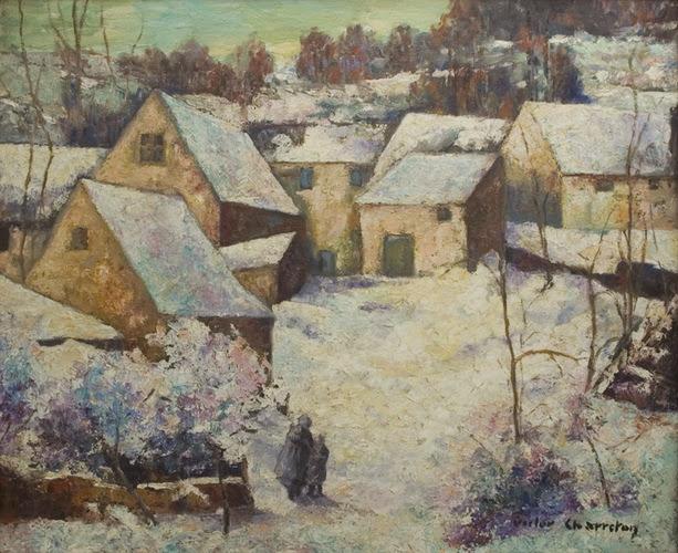 Victor Charreton - Village snow scene