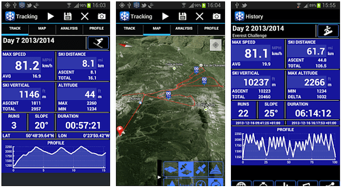 Ski Tracks App voor Android, iPhone en iPad screenshot