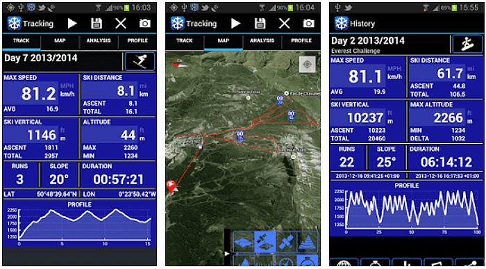 Ski Tracks App voor Android, iPhone en iPad screenshot