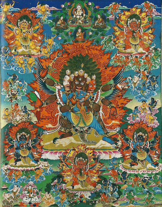 Assembly of the fifty-eight wrathful deities. Thangkas painted by Shawu Tsering and photographed by Jill Morley Smith are in the private collection of Gyurme Dorje.