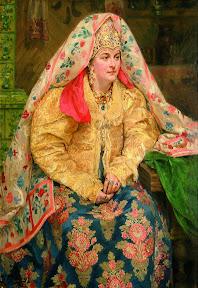 Куликов. В русском наряде,(Портрет жены Е.А.Куликовой),1916