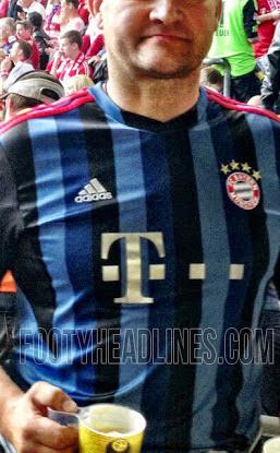 Bayern Munich shirt 2014 3rd kit blue and black stripes adidas