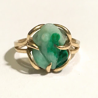 14K Gold and Jade Frog Ring