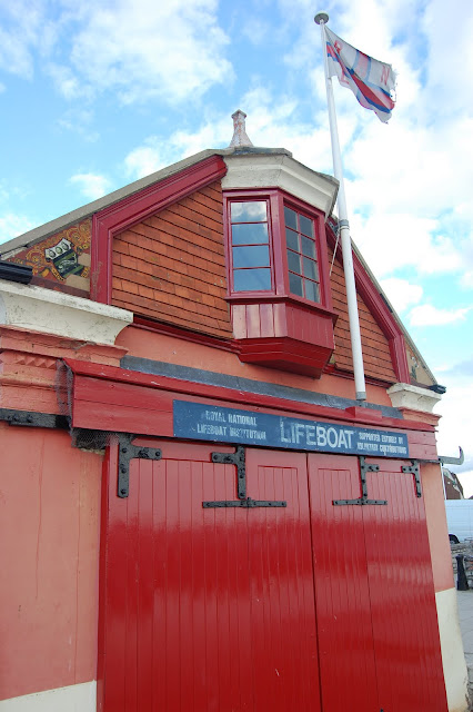 The double doors at the back of Poole Old Lifeboat Museum - this is where the boats used to launch from