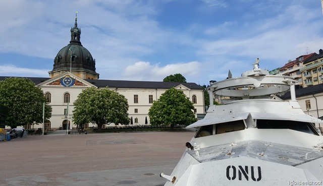Swedish Army Museum (Armémuseum) with an armoured car in United Nations peace keeping livery in the foreground.