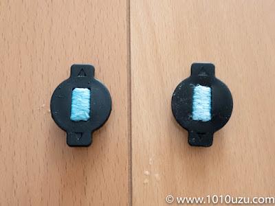 左:劣化した導水キャップ 右:未使用の導水キャップ