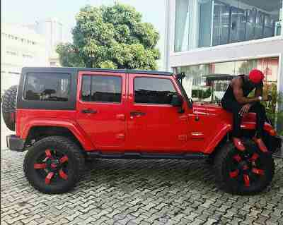 Peter Okoye Poses With His Sahara Jeep Wrangler