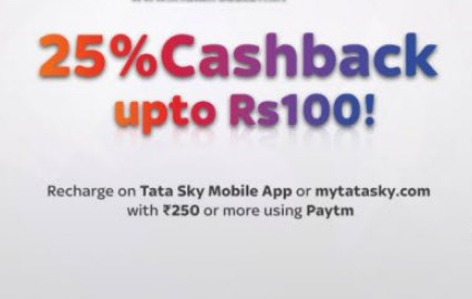 Paytm - 25% cashback upto Rs.100 on Tatasky DTH Recharge of Rs.250 or More