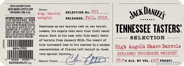 Jack Daniels Tennessee Tasters' High Angels Share