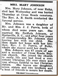 Mrs. Mary Johnson Obit.