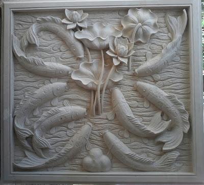 relief batu alam paras jogja motif ikan koi 9