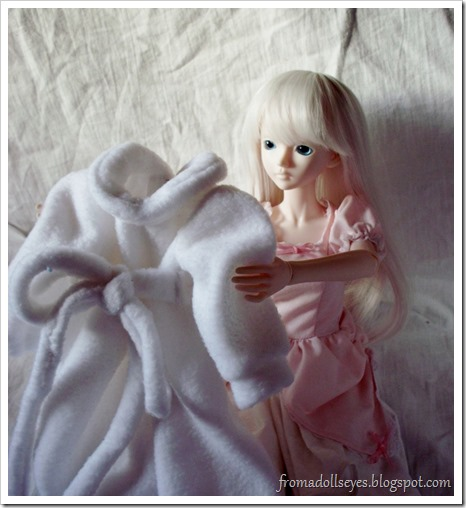 Ball Jointed Doll Admiring Her New Coat