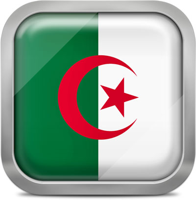 Algeria square flag with metallic frame