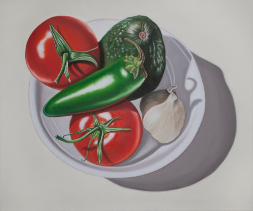 "Guacamole on White 20"" by 24"" oil on canvas. Artist Judy Prisoc"