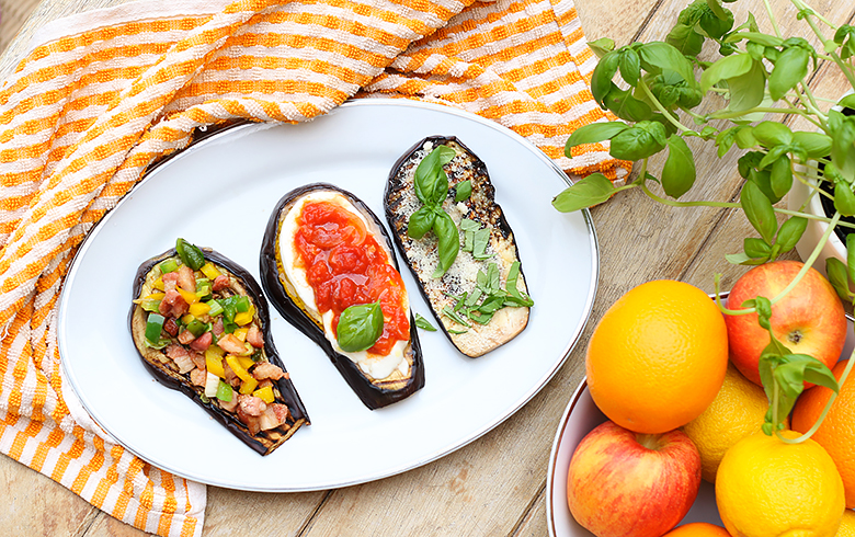 Three ways to cook eggplant bruschettas.