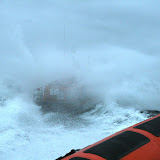 12 June 2011 - ILB crew waiting for the ALB to break through the waves - 'we'll follow in their wake!' During exercise in rough weather (southerly force 7, gusting 8, heavy rain, 4.5m seas). (Photo credit: Rob Inett)