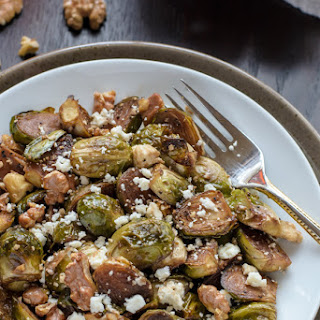 Balsamic Brussels Sprouts with Walnuts and Feta.