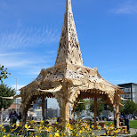 wooden burning man temple at Patricia's Green in San Francisco in San Francisco, California, United States