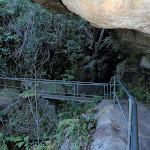 Railed Bridge infront of waterfall (51833)