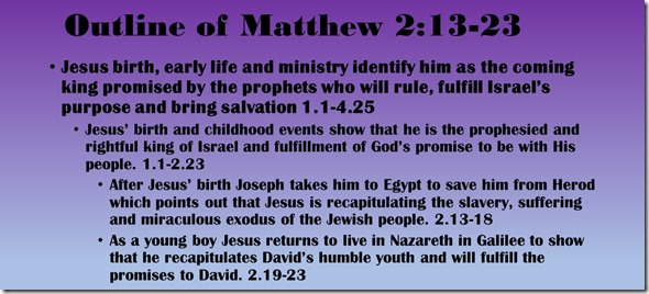 Outline of Matthew 2.12-23