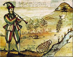 El flautista de Hamelín, ilustración de Darstellung von Alexander Zick.