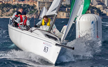 J70 one design sailboat off Monte Carlo, Monaco