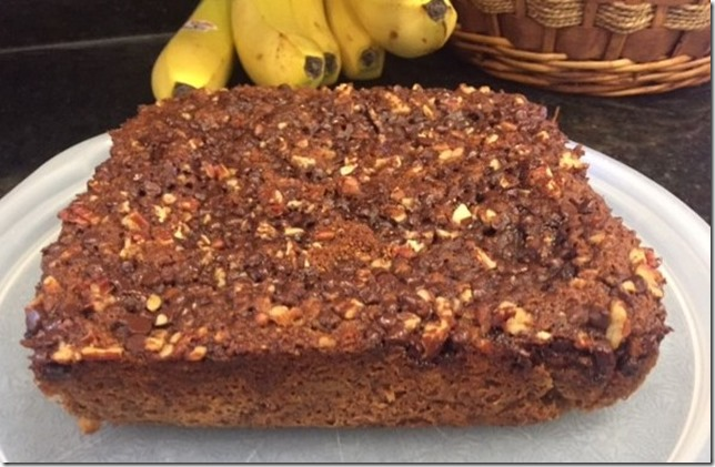 Gluten Free Refined Sugar Free Banana Cinnamon Chocolate Chip Coffee Cake (vegan) 7-12-17