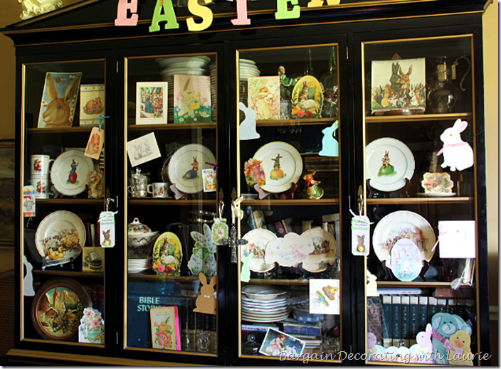 Bookcase Decoraed for Easter