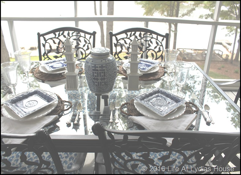blue and white table 4