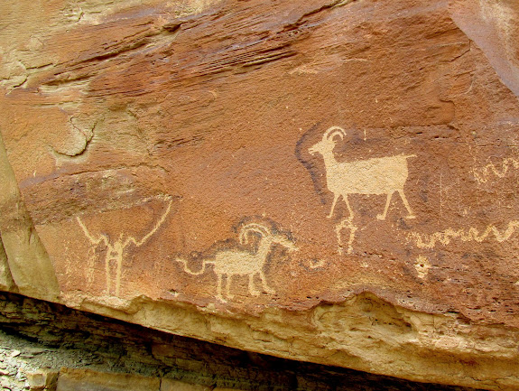 Petroglyphs with unusual dark outlines