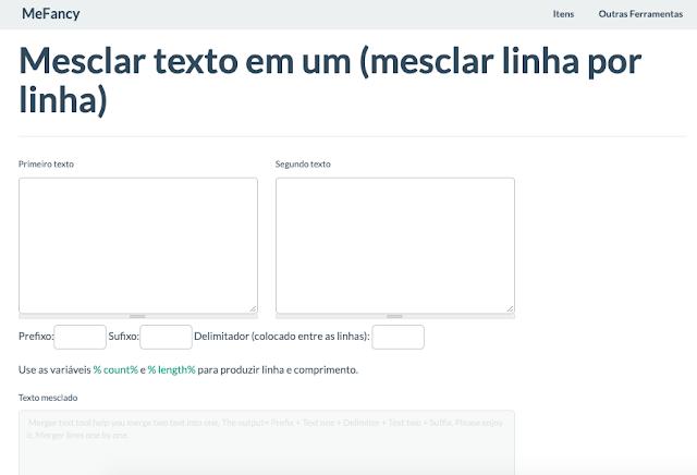 Ferramenta online para mesclar texto em um - mesclar linha por linha