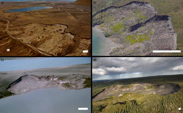 Active retrogressive thaw slumps in four study regions of the Canadian Arctic. (a) Jesse Moriane, eastern Banks Island (2010), (b) the Tuktoyaktuk Coastlands, Mackenzie Delta region (2012), (c) Bluenose Moraine, western Nunavut (1988), and (d) the Peel Plateau, Lower Mackenzie Basin (2010). White bars represent ~45 m. Images from (a) Ecosystem Classification Group (2012), (b) Trevor Lantz, (c) St. Onge and McMartin (1995), and (d) Steven Kokelj. Graphic: Segal, et al., 2016 / Environmental Research Letters