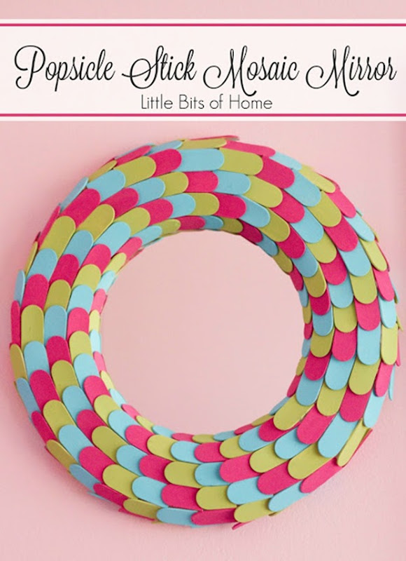 popsicle stick mosaic mirror logo