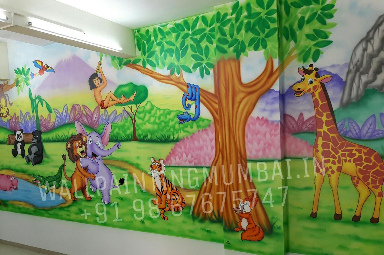 Kids Room Cartoon Painting Kindergarten Classroom Wall Murals In