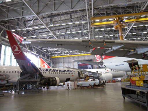 Airplanes being repaired, Turkish Technic