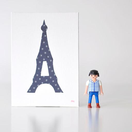 Grand cadre papillons Tour Eiffel Bleu Mille Coquelicots