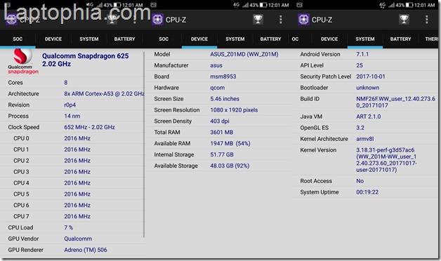 CPU-Z Asus Zenfone 4 Selfie Pro ZD552KL