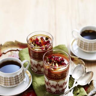 Milk Puddings with Pistachio Praline