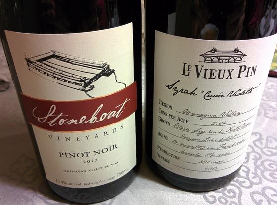 Stoneboat 2012 Pinot Noir & Le Vieux Pin 2013 Syrah Cuvée Violette with Vegetable Barley Soup